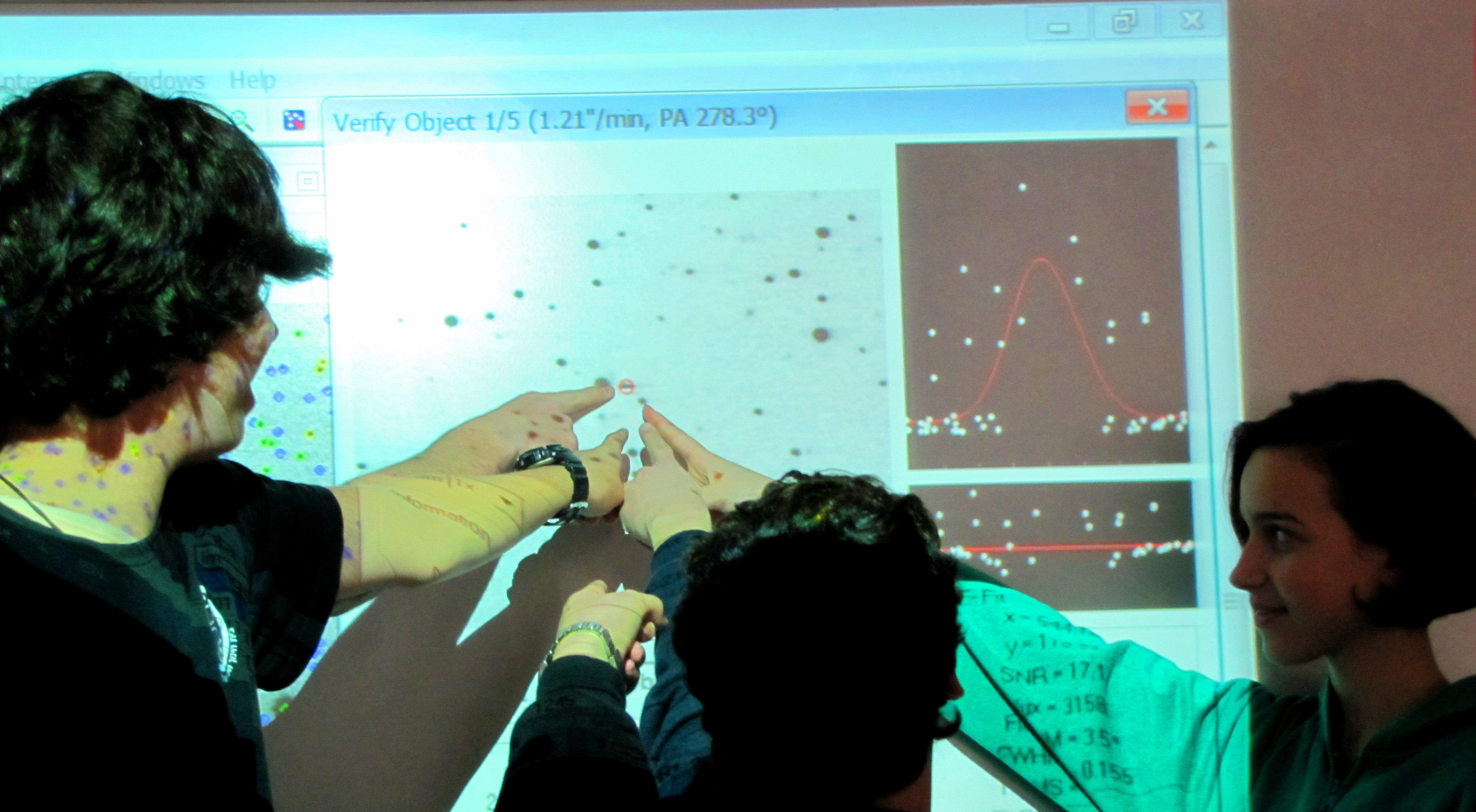 students search for asteroids
